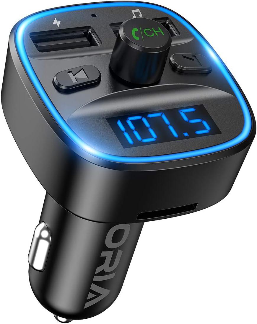 Transmisor FM Bluetooth para Coche,[2020 Versión] ORIA Manos Libres para Coche Inalámbrico Reproductor MP3,Adaptador de Radio con Dual USB,QC3.0 Carga Rápida,Acepta Tarjetas SD USB y Flash Drive
