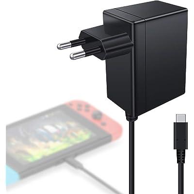 Cargador Nintendo Switch Kimood Cargador y Adaptador Nintendo Switch Lite 15V-2.6A Carga Rápida Type C, Cargador para Switch Dock y Mando para Nintendo Switch, Compatible com Modo TV