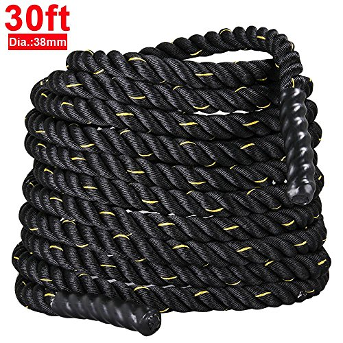 "Yaheetech 1.5""/ 2"" Polyester 30/40/50ft Battle Rope Workout Cardio & Core Strength Training Fitness Undulation Rope Exercise"
