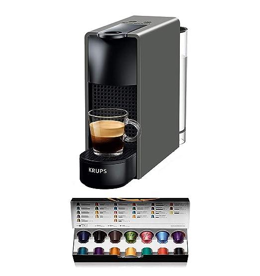 Nespresso Krups Essenza Mini XN110B - Cafetera monodosis de cápsulas Nespresso, compacta, 19 bares, apagado automático, color gris