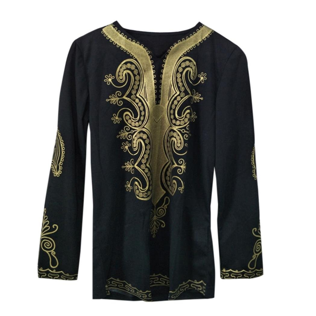 GREFER Mens Hipster Hip Hop African Dashiki Graphic Long Sleeve Top Shirts Blouse by GREFER