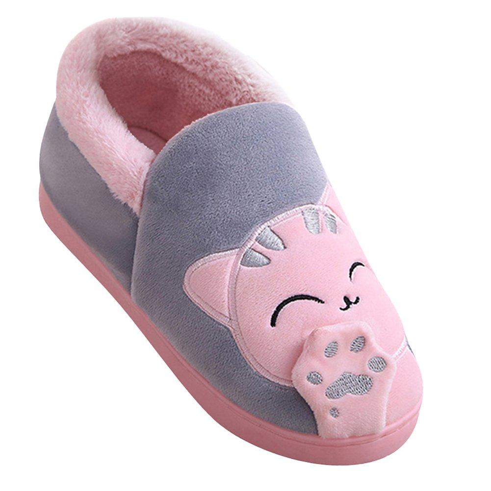 Unisex Pantofole Cartoon Gatto Zampa Scarpe Peluche Caldo Pattini Ciabatte per Donna Uomini Grigio BG