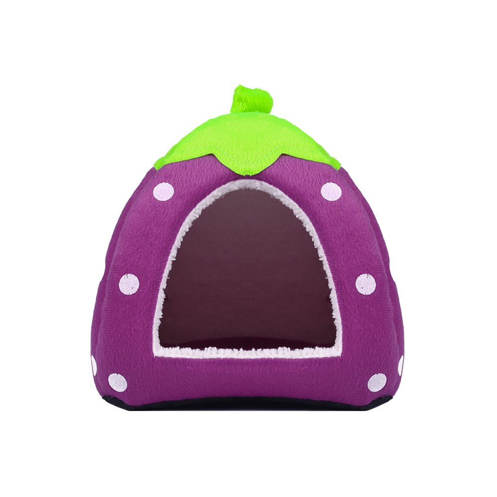 Spring Fever Strawberry Guinea Pigs Fleece House Rabbit Cat Pet Small Animal Bed Purple XL (18.918.90.8 inch)