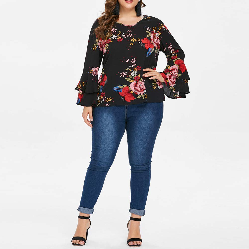 OrchidAmor Plus Size Casual 2019 Womens Bell Sleeve Loose Polka Flower Shirt Ladies Casual Blouse Tops at Amazon Womens Clothing store: