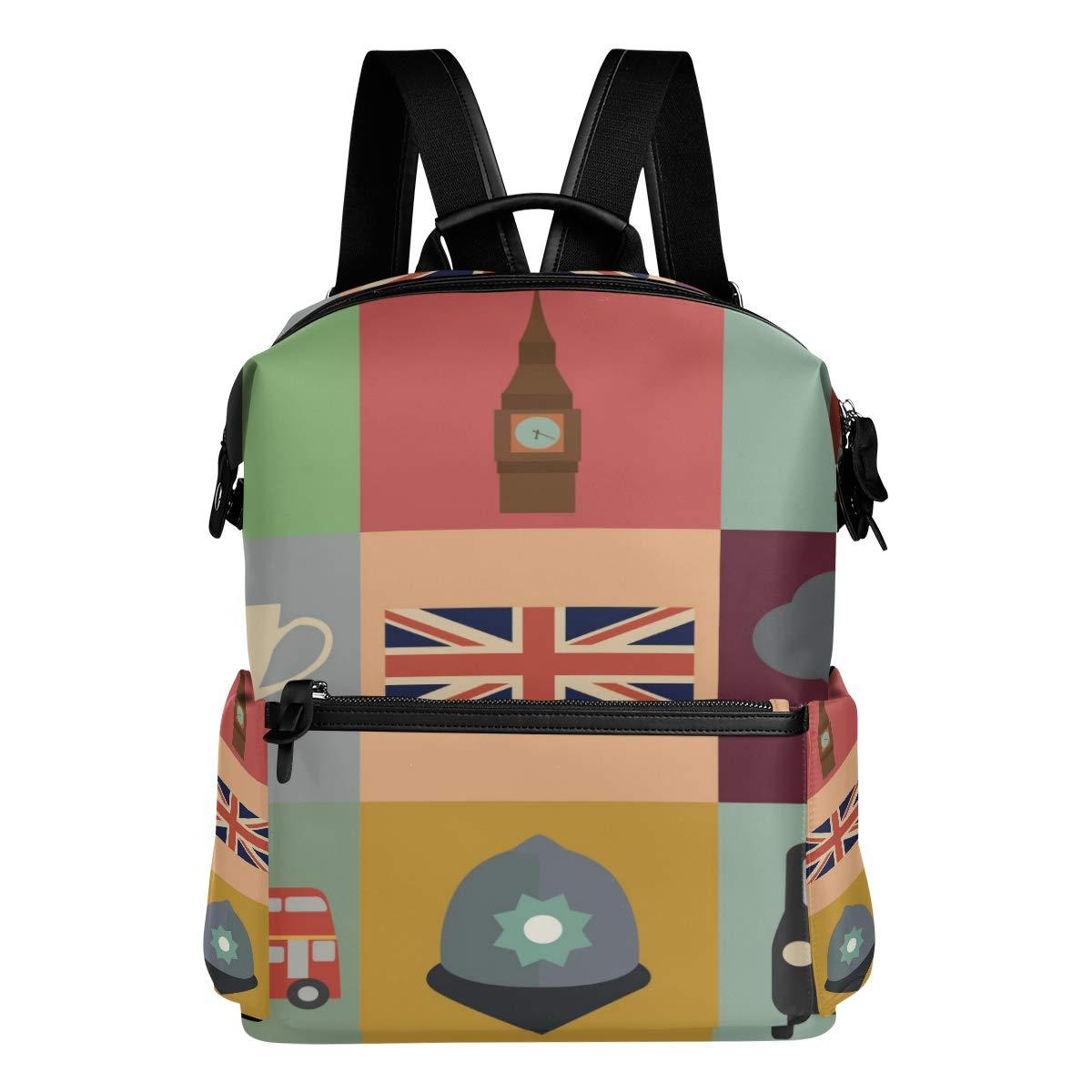 QIAOSHENG British Flag Pattern Backpack, Durable Backpack Waterproof Backpack Leisure College Backpack School Bag