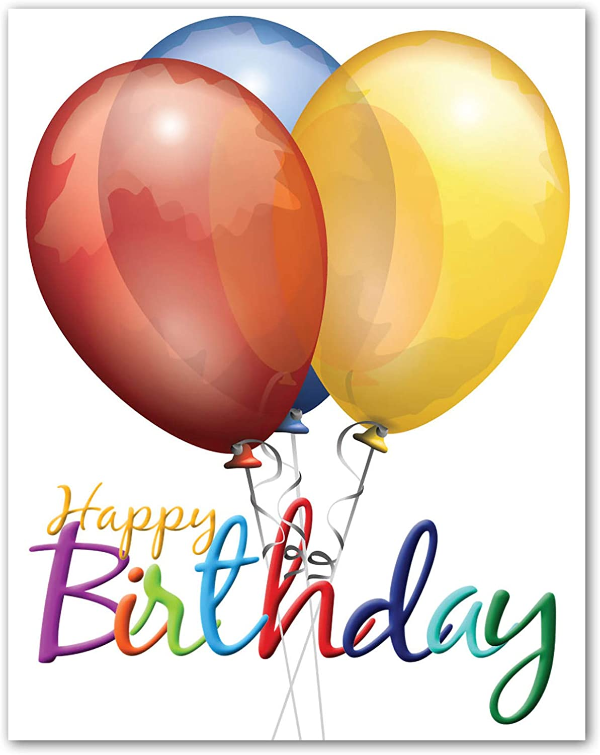 """Jumbo Extra-Large Happy Birthday Greeting Card - Blank on the Inside - With  Envelope 5.5"""" x 5"""" - Single"""