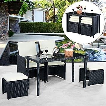 Costway - Juego de muebles de jardín, 5 piezas, ratán, 2 ...
