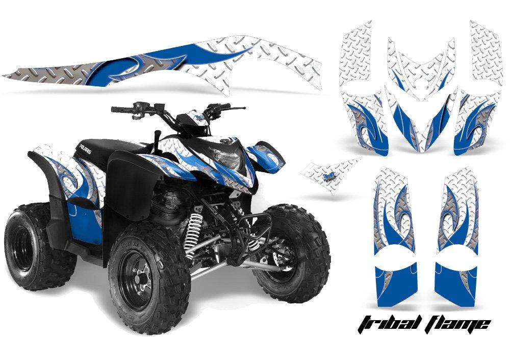 AMRRACING Polaris Phoenix 200 2005-2012 Full Custom ATV Graphics Decal Kit - Tribal Flames Blue White