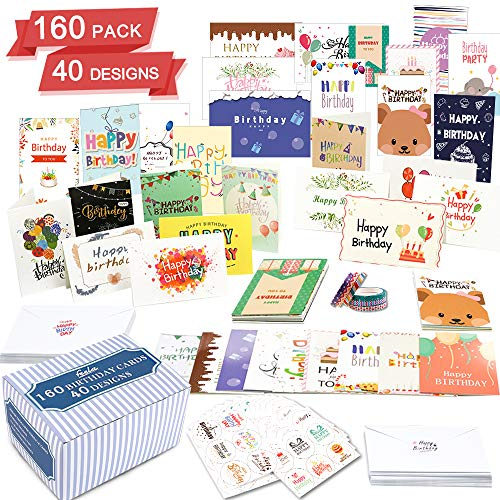 Birthday Cards In Bulk (Birthday Card, 160 Pack 40 Designs Happy Birthday Card Assorted Bulk with 160 Blank Envelopes 168 Pieces of Stickers 6 Washi Tapes, Feela 4 X 6 Inches Greeting Cards For)