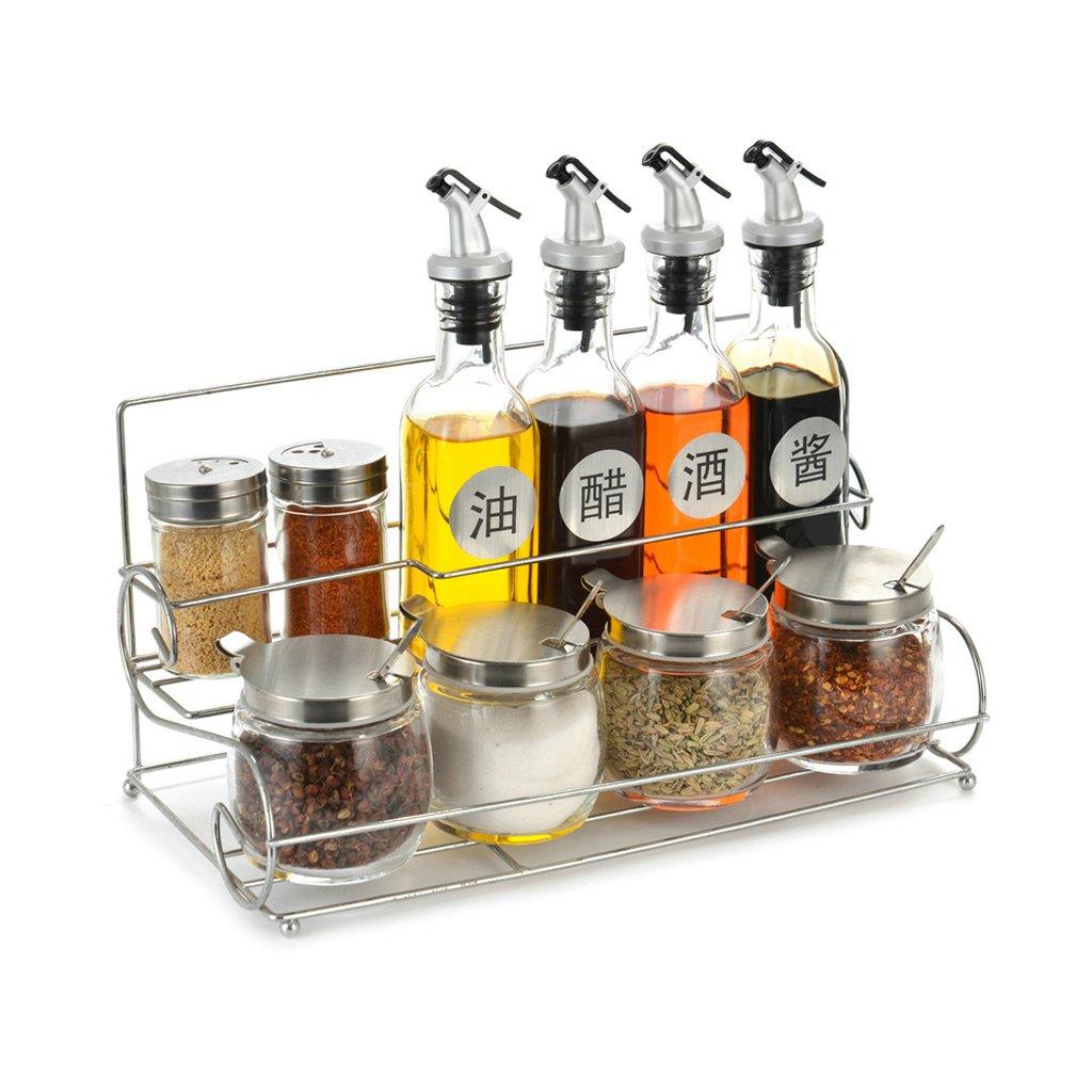 キッチングラス調味料ボックススパイスオイルソルトペッパー調味料ボトル収納ボックスホームコンボセットパストラルスタイル(33X17.5X17cm34.5X16.5X19.5cm) (サイズ さいず : A) A  B07GWY86ZF