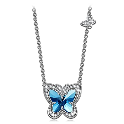 Amazon ladycolour blue butterfly fairy pendant necklace ladycolour blue butterfly fairy pendant necklace swarovski crystals jewelry for women teen girls christmas gifts birthday aloadofball Gallery