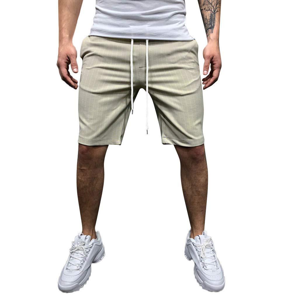 Pantalones Cortos para Hombre Moda Rayas Estampado Deportivo Casual Algodón Cómodo Transpirables Shorts de Rodilla Pantalones Casuales de Negocios con cordón MMUJERY