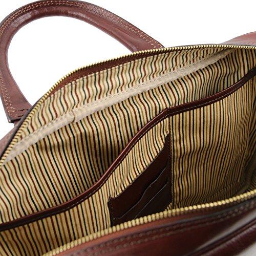 81412414 - TUSCANY LEATHER: URBINO - Notebook-Aktentasche aus Leder mit Vorderfach, Dunkelbraun
