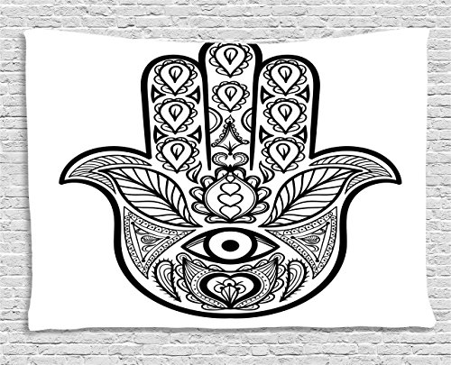 Evil Wall (Mandala Tapestry by Ambesonne, Hamsa Hand with Inner Eye Image Evil Eyes Bless You Oriental Eastern Art Print, Wall Hanging for Bedroom Living Room Dorm, 80 W X 60 L Inches, White Black)