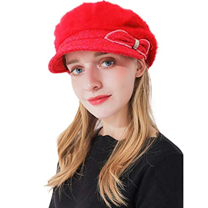 f6f777cf2a9 Challyhope Women Teen Girls Retro Knitting Wool Beanie Beret Hat Felt  Cloche Bow Dress Winter Hats