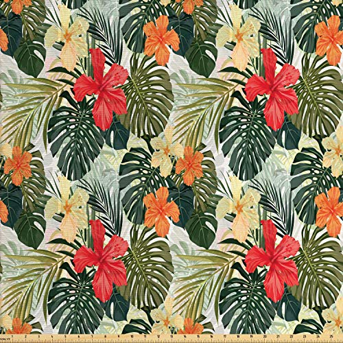 (Lunarable Leaf Fabric by The Yard, Hawaiian Summer Tropical Island Vegetation Leaves with Hibiscus Flowers, Decorative Fabric for Upholstery and Home Accents, 1 Yard, Green Orange and Yellow)