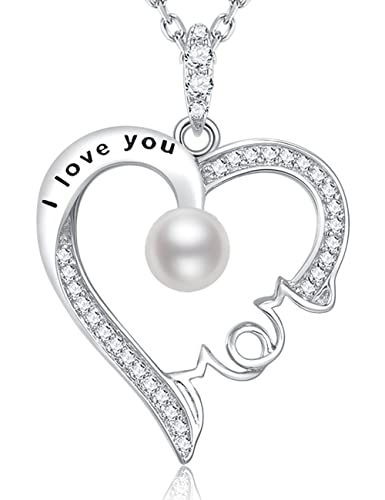 June Birthstone White Pearl Jewelry Gift I Love You Mom Necklace Heart Sterling Silver Pendant