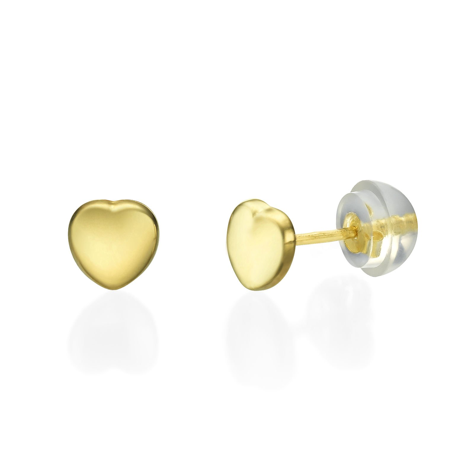 14K Fine Yellow Gold Heart Screw Back Stud Earrings for Girls Kids Children Gift