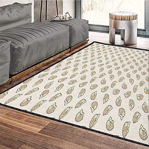 Waffle Contemporary Indoor Area Rugs,Delicious Breakfast Food with Creamy Sweet Topping Dessert Cooking Illustration No Chemical Odor Tan and Cream 79