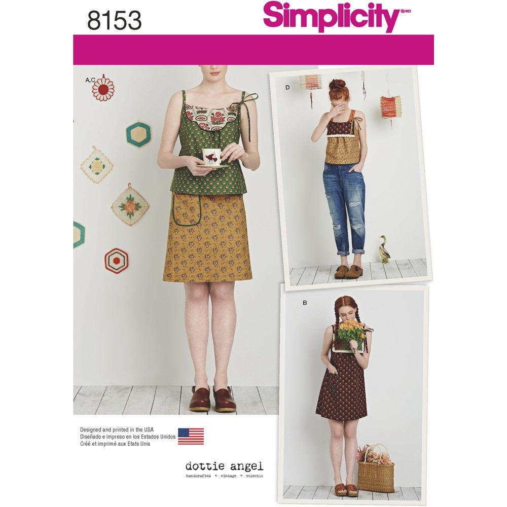 Simplicity Patrón de Costura 8153 Dottie Angel para Vestido, Top y ...