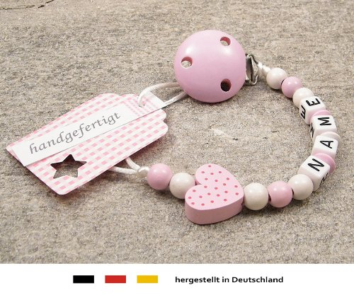 Personalised Baby DUMMY CLIP | Pacifier Holder with preffered name – girls motif rose heart | Beststeller from Germany