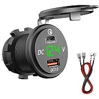 DaMohony Quick Charge 3.0 USB-laderaansluiting, 12 V/24 V waterdicht, snellader, stopcontact met voltmeter, type-c + PD…
