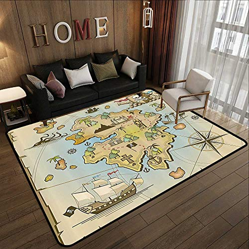 Large Area Rugs,Island Map Decor Collection,Cartoon Treasure Island with Pirate Ship Chest Kraken Octopus Nautical Kids Playroom Decor,M 35