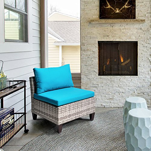 Outdoor Patio Wicker Armless Accent Chair with 3.15'' thikness Cushions, Sea Blue (Mix Gray Wicker + Sea Blue Cushion) (Limeade Dot)