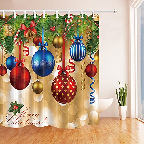NYMB New Year Bath Curtain, Colorful Christmas Balls Hang on Pine Tree with Ribbon for Christmas, Polyester Fabric Waterproof Shower Curtain for Bathroom, 69X70in, Shower Curtains Hooks Included,