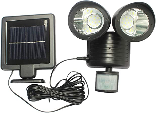 Black//White Solar Spot Light Floodlight DIY for Courtyard Garage Home 22 LED