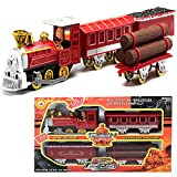 CORPER TOYS Classic Diecast Train Toy Metal Pullback Locomotive Engine Car with Lights and Sounds Railway Train Set for Kid Boys (RED)