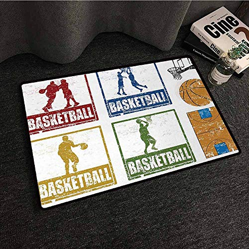 - DILITECK Interior Door mat Basketball Collection of Vintage Rubber Stamp Print Illustration Basketball Players All Season General W35 xL47 Navy Green Red