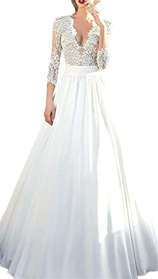 Changjie Womens 3/4 Sleeves Ivory Lace Bridal Wedding Dresses 2018