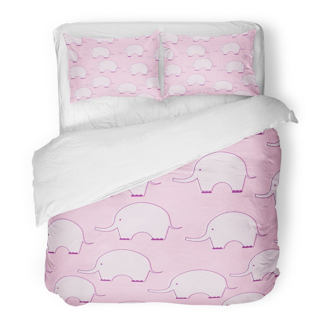 SanChic Duvet Cover Set Cute Pink Flat Style Elephant Pattern Baby Girl Color Silhouette Sweet Children Pastel Decorative Bedding Set 2 Pillow Shams King Size