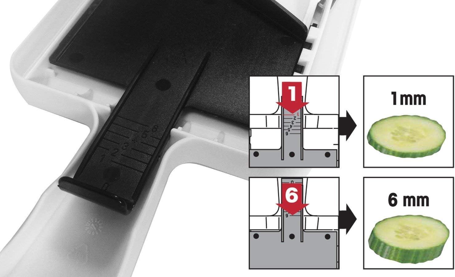 Fackelmann 45331 Mandoline /à Main Ajustable avec Poussoir Blanc