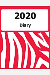 "2020 Diary: (Red Zebra Pattern Cover) - 8"" x 10"" - Months, Important Dates, Weekly Planner - Simple layout. Large Print. Easy to use for visually impaired Paperback"