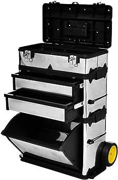 Caja Maleta baúl caja de herramientas con ruedas, 56,5 x 35 x 77 ...