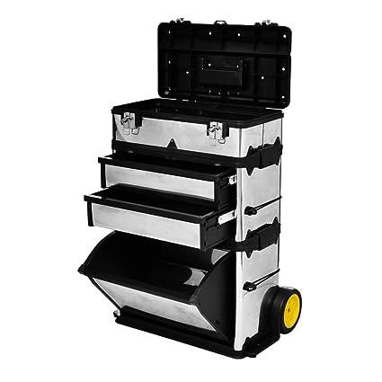 Caja Maleta baúl caja de herramientas con ruedas, 56,5 x 35 x 77