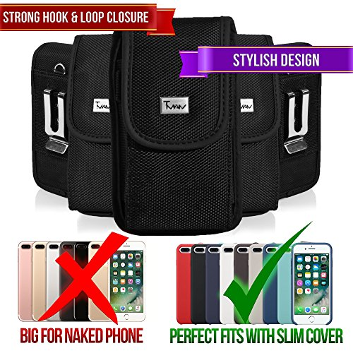 [#1 TMAN Rugged Canvas Heavy Duty Quality Hook&Loop Closure Vertical Medium Belt Clip Case Pouch Holster for LG VX9900 env envy [PERFECT FITS WITH SNAP CASE ON IT]] (Lg Vx9900 Cover Snap)