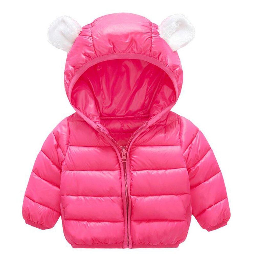 Baby Boys Girls Winter Puffer Down Jacket Kids Ear Warm Coat Thicken Cotton Hoodie Outwear Lightweight Windproof Jacket (12-18 Months, Rose)
