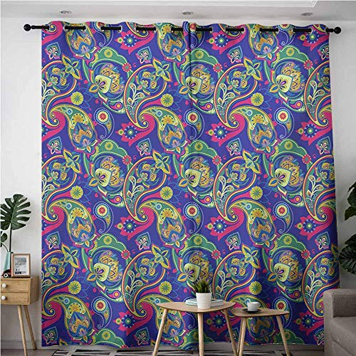AndyTours Window Curtain Panel,Paisley,Classic Persian Jacquard Boteh Ikat Motifs Old Welsh Pears Artwork,Space Decorations,W96x72L,Indigo and Olive Green (Ribbon Jacquard Dot)