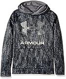 Under Armour Boys' Armour Fleece Printed Big Logo Hoodie, Black /Black, Youth X-Small