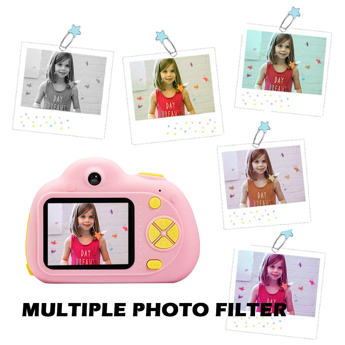 KIDOVE Kids Toys Fun Camera, Waterproof & Shockproof Child Selfie digital game Camcorder, 8MP 1080P dual camera Video Recorder, Creative Birthday Gifts for girls and boys, 16GB TF Card Included (Pink) by KIDOVE (Image #6)