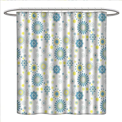 Zojihouse Yellow And Blue Shower Curtains Sets Bathroom Soft Spring Pattern With Various Abstract Blossoms Little