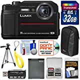 Panasonic Lumix DC-TS7 4K Tough Shock & Waterproof Digital Camera (Black) 32GB Card + Battery + Case + Floating Strap + Tripod + Kit