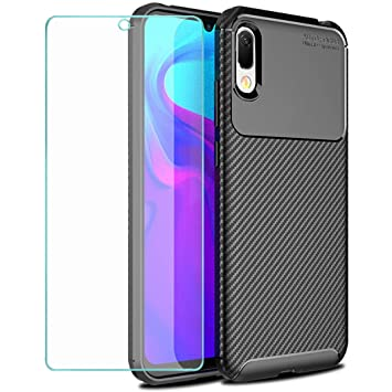 Wanxideng - Funda Huawei Y6 2019 + Protectore de Pantalla in Cristal Templado, [Textura de Fibra de Carbono] Carcasa de Armadura Resistente Funda de ...