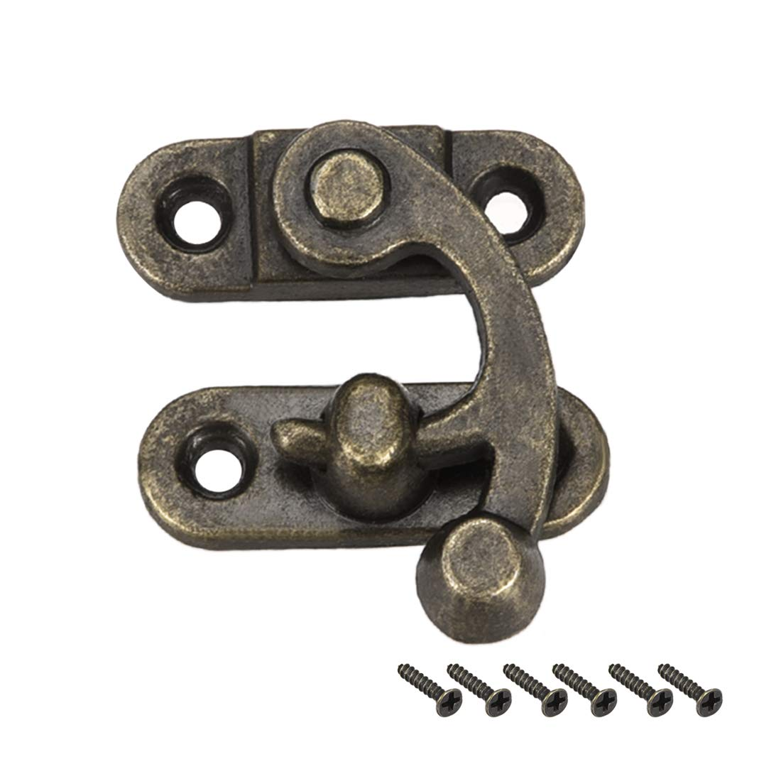 sourcing map Antique Right Latch Hook Hasp, Swing Arm Latch Plated Bronze 5 pcs w Screws (42mm x 36mm)