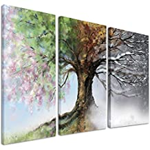 "Design Art PT9283-3P Tree With Four Seasons 3 Piece Tree Painting Canvas Art Print, Green, 36"" x 28"""