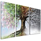 Design Art PT9283-3P Tree with Four Seasons - Tree Painting Canvas Art Print - 36x28in - Multipanel 3Piece,Green,36x28 3Piece