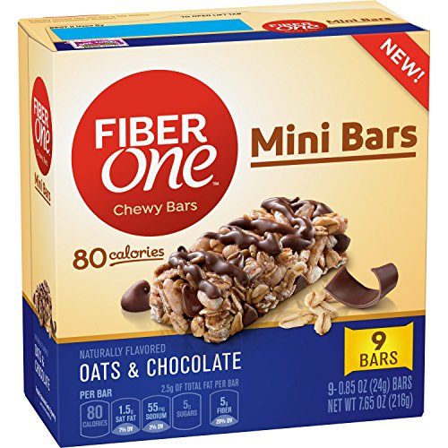 Fiber One Mini Chewy Bars Oats & Chocolate, 0.85 oz, 9 ct (One Oats Fiber)